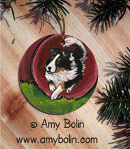 CERAMIC ORNAMENT · AGILITY STAR · TRI COLOR SHELTIE · AMY BOLIN