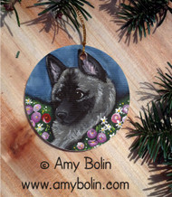 CERAMIC ORNAMENT · MOM'S FAVORITE DAISY · NORWEGIAN ELKHOUND · AMY BOLIN