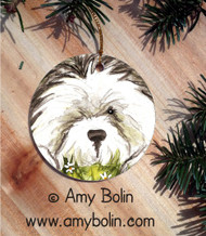 CERAMIC ORNAMENT · SHEEPIE IN THE DAISIES  · OLD ENGLISH SHEEPDOG · AMY BOLIN