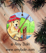 CERAMIC ORNAMENT · GONE FISHING  · GOLDEN RETRIEVER · AMY BOLIN