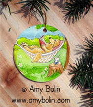 CERAMIC ORNAMENT · SUMMER IS FOR READING   · GOLDEN RETRIEVER · AMY BOLIN