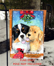 GARDEN FLAG · UNDER THE MISTLETOE · BERNESE MOUNTAIN DOG, GOLDEN RETRIEVER · AMY BOLIN