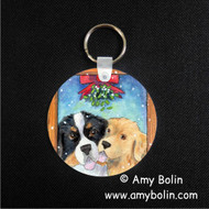 KEY CHAIN · UNDER THE MISTLETOE · BERNESE MOUNTAIN DOG & GOLDEN RETRIEVER · AMY BOLIN