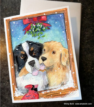 NOTE CARDS · UNDER THE MISTLETOE · BERNESE MOUNTAIN DOG & GOLDEN RETRIEVER · AMY BOLIN