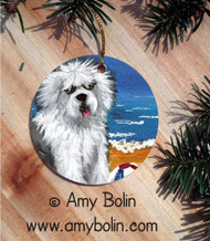 CERAMIC ORNAMENT · BEACH BUM · OLD ENGLISH SHEEPDOG · AMY BOLIN