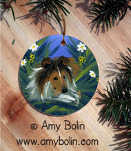 CERAMIC ORNAMENT · A SECRET TREAT · SABLE SHELTIE · AMY BOLIN