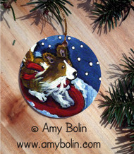 CERAMIC ORNAMENT · A SNOWY RIDE · SABLE SHELTIE · AMY BOLIN
