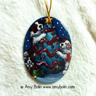 OVAL SHAPED CERAMIC ORNAMENT · CHRISTMAS TOGETHER · SAINT BERNARDS · AMY BOLIN