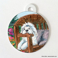DOUBLE SIDED PET ID TAG · SUMMER'S SIMPLE PLEASURES · OLD ENGLISH SHEEPDOG · AMY BOLIN