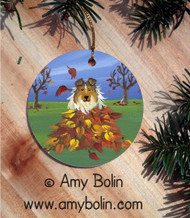 CERAMIC ORNAMENT · AUTUMN'S SIMPLE PLEASURES · SABLE SHELTIE · AMY BOLIN