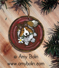 CERAMIC ORNAMENT · BE MINE · SABLE SHELTIE · AMY BOLIN