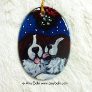 OVAL SHAPED CERAMIC ORNAMENT · UNDER THE MISTLETOE · SAINT BERNARDS · AMY BOLIN
