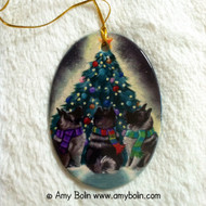 OVAL SHAPED CERAMIC ORNAMENT · CHRISTMAS TOGETHER · NORWEGIAN ELKHOUNDS · AMY BOLIN