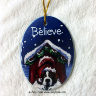 OVAL SHAPED CERAMIC ORNAMENT · BELIEVE · SAINT BERNARD · AMY BOLIN