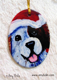 OVAL SHAPED CERAMIC ORNAMENT · JOLLY · HALF MASK SAINT BERNARD · AMY BOLIN