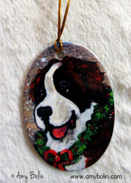 OVAL SHAPED CERAMIC ORNAMENT · CHRISTMAS TRADITIONS ·  SAINT BERNARD · AMY BOLIN