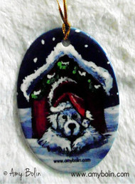 OVAL SHAPED CERAMIC ORNAMENT · BELIEVE ·  GREAT PYRENEES · AMY BOLIN