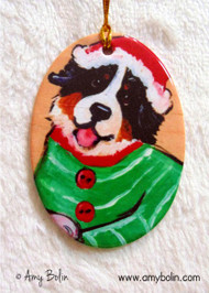 OVAL SHAPED CERAMIC ORNAMENT · CHRISTMAS CUDDLIES ·  BERNESE MOUNTAIN DOG · AMY BOLIN