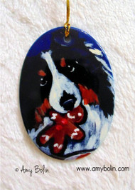OVAL SHAPED CERAMIC ORNAMENT · SANTA'S COOKIES ·  TRI COLOR SHELTIE · AMY BOLIN