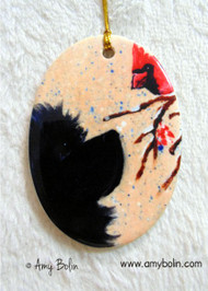 OVAL SHAPED CERAMIC ORNAMENT · WINTER FRIENDS ·  BLACK NEWFOUNDLAND & CARDINAL · AMY BOLIN