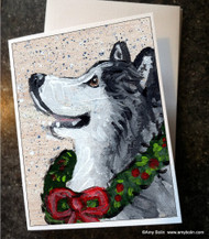 """Christmas Traditions"" Alaskan Malamute Note Cards"