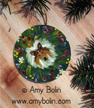 CERAMIC ORNAMENT · IN MOM'S FLOWERS AGAIN! · SABLE SHELTIE · AMY BOLIN