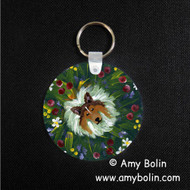 KEY CHAIN · IN MOM'S FLOWERS AGAIN · SABLE SHELTIE · AMY BOLIN