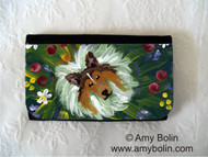 LARGE ORGANIZER WALLET · IN MOM'S FLOWERS AGAIN! · SABLE SHELTIE · AMY BOLIN