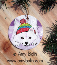 CERAMIC ORNAMENT · PLAYFUL PUP · SAMOYED · AMY BOLIN