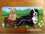 LICENSE PLATE · TRAVELING BUDDIES · BERNESE MOUNTAIN DOG, GOLDEN RETRIEVER · AMY BOLIN