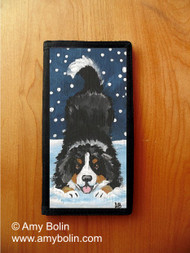 CHECKBOOK COVER · LET'S PLAY · BERNESE MOUNTAIN DOG · AMY BOLIN