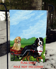 GARDEN FLAG · TRAVELING BUDDIES · BERNESE MOUNTAIN DOG, GOLDEN RETRIEVER · AMY BOLIN
