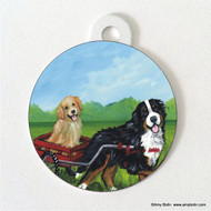 DOUBLE SIDED PET ID TAG · TRAVELING BUDDIES · BERNESE MOUNTAIN DOG, GOLDEN RETRIEVER · AMY BOLIN