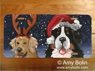 LICENSE PLATE · CHRISTMAS BUDDIES · BERNESE MOUNTAIN DOG, GOLDEN RETRIEVER · AMY BOLIN