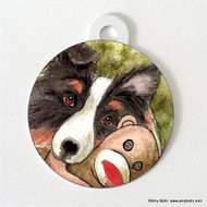 DOUBLE SIDED PET ID TAG · CUDDLE MONKEY · TRI COLOR SHELTIE · AMY BOLIN
