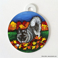 DOUBLE SIDED PET ID TAG · AUTUMN'S SIMPLE PLEASURES · NORWEGIAN ELKHOUND · AMY BOLIN