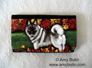 LARGE ORGANIZER WALLET · CHASING LEAVES · NORWEGIAN ELKHOUND · AMY BOLIN