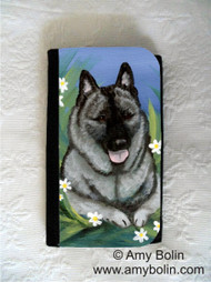 LARGE ORGANIZER WALLET · DAISIES 1 · NORWEGIAN ELKHOUND · AMY BOLIN