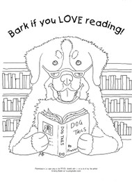 "FREE COLORING SHEET DOWNLOAD · ""Dog Tails Vol 4"" BARK IF YOU LOVE READING · BERNESE MOUNTAIN DOG · AMY BOLIN"