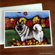 NOTE CARDS · CHASING LEAVES · NORWEGIAN ELKHOUND · AMY BOLIN
