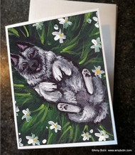 NOTE CARDS · HAPPINESS IS A FIELD OF DAISIES · NORWEGIAN ELKHOUND · AMY BOLIN