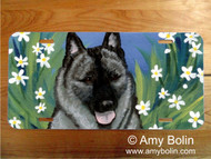 LICENSE PLATE · DAISIES 1 · NORWEGIAN ELKHOUND · AMY BOLIN