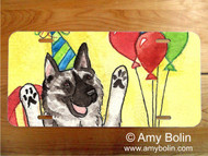 LICENSE PLATE · IT'S MY PARTY · NORWEGIAN ELKHOUND · AMY BOLIN