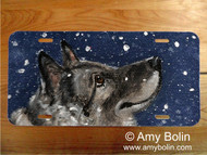 LICENSE PLATE · SENJA'S SNOW DAY · NORWEGIAN ELKHOUND · AMY BOLIN