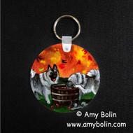 KEY CHAIN · BOBBING FOR APPLES · NORWEGIAN ELKHOUND  · AMY BOLIN