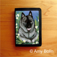 TRIFOLD WALLET · DAISIES 1 · NORWEGIAN ELKHOUND  · AMY BOLIN