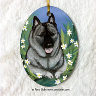 OVAL SHAPED CERAMIC ORNAMENT · DAISIES 1 · NORWEGIAN ELKHOUND · AMY BOLIN