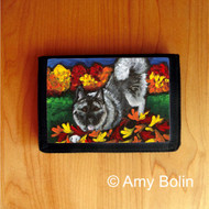 TRIFOLD WALLET · AUTUMN'S SIMPLE PLEASURES · NORWEGIAN ELKHOUND  · AMY BOLIN