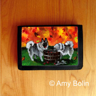 TRIFOLD WALLET · BOBBING FOR APPLES · NORWEGIAN ELKHOUND  · AMY BOLIN