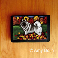 TRIFOLD WALLET · CHASING LEAVES · NORWEGIAN ELKHOUND  · AMY BOLIN